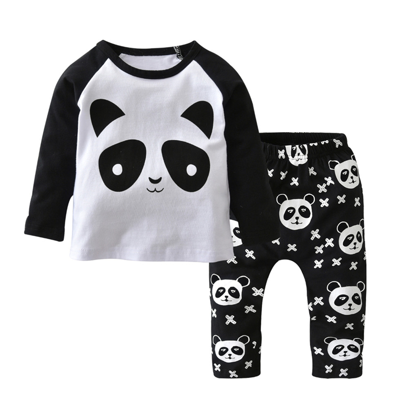 2017 Autumn New Baby Boy Clothes Long-sleeved Cartoon Panda T shirt+Pants 2 Pcs Newborn Clothes Baby Girl Clothing Set