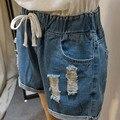 2016 летний стиль женщин разорвал джинсовые шорты свободного покроя карманы эластичный пояс широкий шорты Большой размер 5XL синий WM33