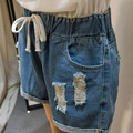 2016 Summer Style Women's Ripped Denim Shorts Casual Pockets Elastic Waist Loose Shorts Plus Size 5XL Blue WM33