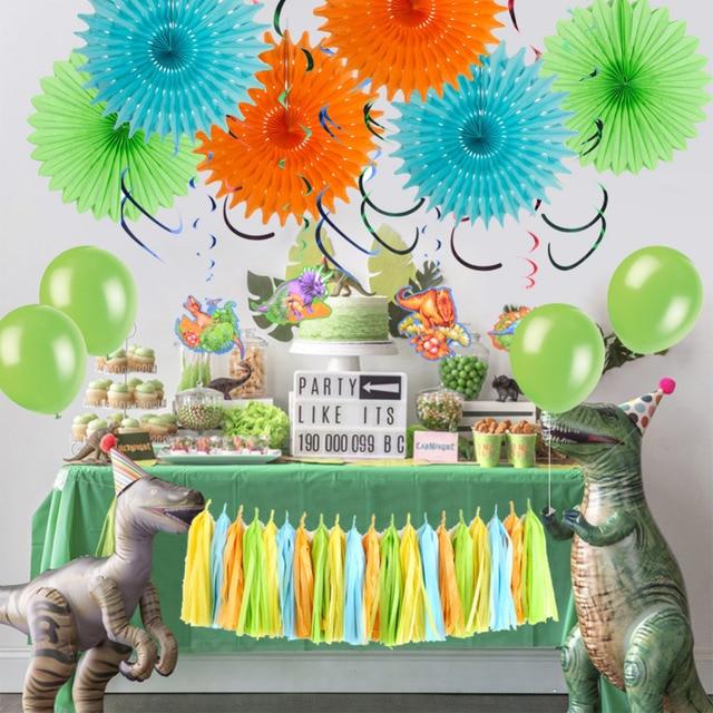 Dinosaur Party Decoration Set Hanging Swirls Paper Fans Tel Garland Balloons Baby Boy Shower Dino Birthday