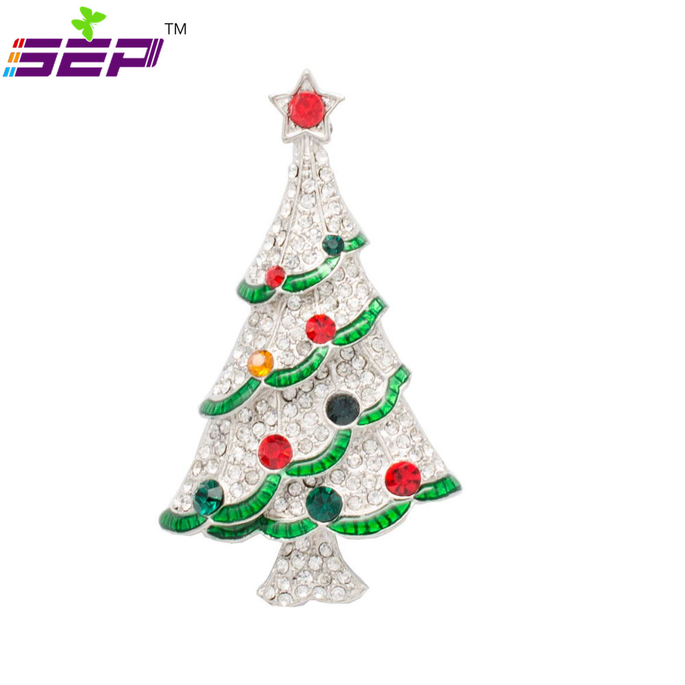 White Christmas Tree Brooches Rhinestone Crystals Broach Pins for ...
