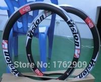 2Pcs New Red 700C 50mm Clincher Rims Road Bike Matt 3K Carbon Fibre Bicycle Wheelsets Rim