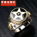Skills old silversmith 925 silver ornament Thai silver pentagram black agate silver ring restoring ancient ways men's rings