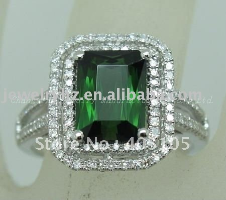 14k Gold Natural Green Tourmaline & Diamond Wedding Ring Wholesale