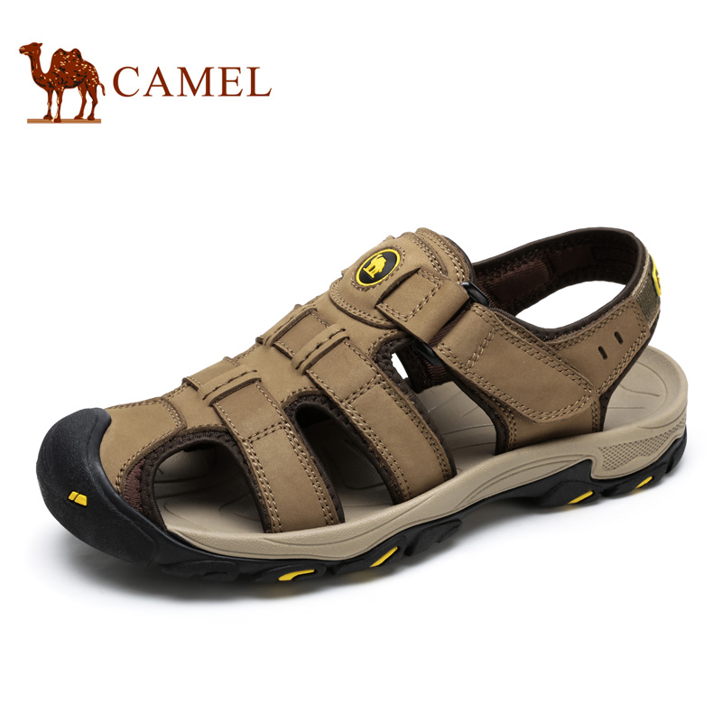 ФОТО 2016 Men's Leisure Sandals Camel New Design Cowhide Outdoor Sandals Rome Closed Toe Wear-resistant Summer Sandals Male A62230923