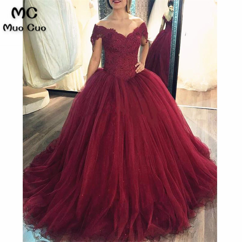 2018 Ball Burgundy   Prom     dresses   Long with Appliques Short Sleeve   dress   for graduation Tulle Formal Evening Party   Dress   for Women