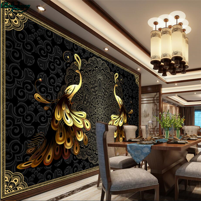 beibehang large custom wallpapers luxury european black gold peacock tv sofa living room. Black Bedroom Furniture Sets. Home Design Ideas