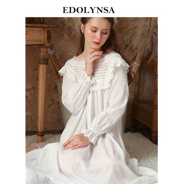 3e97ba5645 Victorian Style Square Collar Ruffled Night Dress Autumn Sleepwear Women  Home Wear Long Sleeve Cotton Nightgown