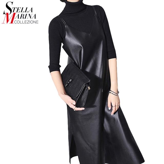 Новый 2017 Женская Мода Кожа Dress Черные Твердые Рукавов Бретельках Нижней Сплит Сексуальная Ночной Клуб Платья 746