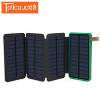 Tollcuudda Folds Portable Charger Solar Charger Solar Power Bank Dual USB External Battery LED Poverbank For