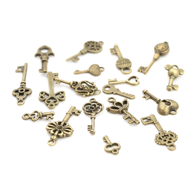 18pcs/sets Bronze Ornate Skeleton Keys Lot Antique Vintage Old Look Necklace Pendant Fancy Heart Decor DIY Craft Gifts 5