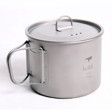 Keith 900ML Ti3209  Titanium Tea Cup Camping Water With Foldable Handle Outdoor Tableware