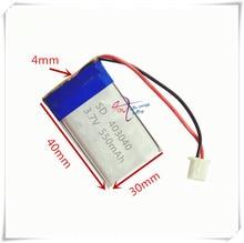 Bateria de Polímero Xhr-2p 2.54 550 Mah 403040 3.7 V de Íon Lítio