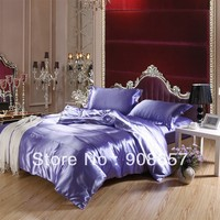 sexy purple bed linens imitated silk satin beding sets queen full king sizes soft girls women bedclothes 3/4/5 pcs duvet covers