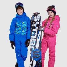 Зимний лыжный костюм для девочек спортивная водонепроницаемая куртка для мальчиков Детский ветрозащитный цельный лыжный костюм с капюшоном теплые комбинезоны