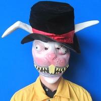 Новый Хэллоуин Косплэй животного rabbiy Маска латекс зомби Кролик маска зайчика маска маскирует кроликов Уход за кожей лица головы маску с шля...