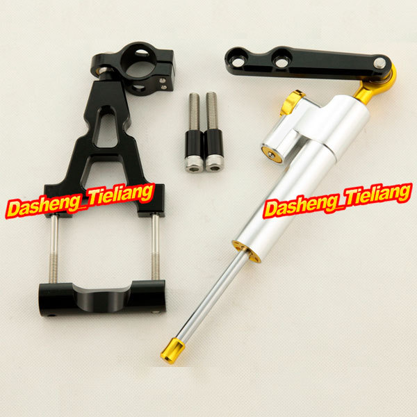 Steering Damper Stabilizer with Bracket Full Set for Kawasaki Ninja 250R 2008 2009 2010 2011 2012/08-12, Black + Silver Color