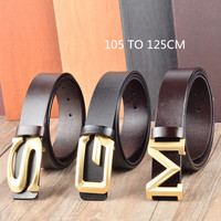 Men Fashion S G Letter Buckle Calfskin Full Grain Leather Belt