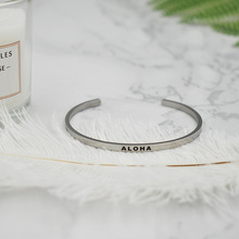 Newly Silver Stainless Steel Engraved ALOHA Positive Inspirational Quotes  Hand Stamped Cuff Bracelet Bangle For girls Gifts