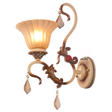 European Vintage Bedroom Frosted Glass Wall Light Carving Resin Holder Hallway gallery Bathroom Wall Lamp