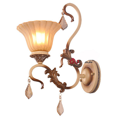 Evropská Vintage Ložnice z matného skla Nástěnné světlo Carving Resin Holder Hallway gallery Bathroom Wall Lamp