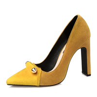 {D&Henlu}Flock High Heel Pumps Yellow Shoes Woman Party Heels Thick Heel Pumps Point Toe Suede Sexy Pumps Mujeres Sexy Bombas
