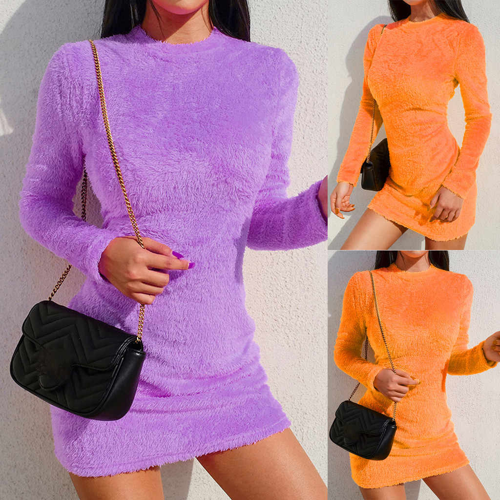 Fashion Vrouwen Body Shapper Jurk Sexy Solid Stand Hals Fluwelen Strakke billen Mini Bodycon Jurk