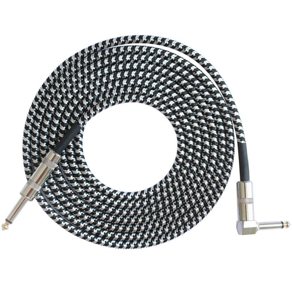 Cabo de áudio macho para macho, cabo conector de mono de fio de cobre para macho, plugue reto de 6.35mm para acústico elétrico baixo guitarra