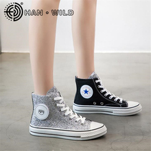 Fashion Sequins Canvas Shoes 2020 New Thick-soled Wild Korea