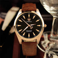 Men S Fashion Brand New Men Luxury Leather Watch Round Dial Color Black White Buckle Needle