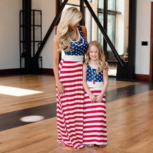 Mom's and Daughter's Flag Printed Sleeveless Dresses