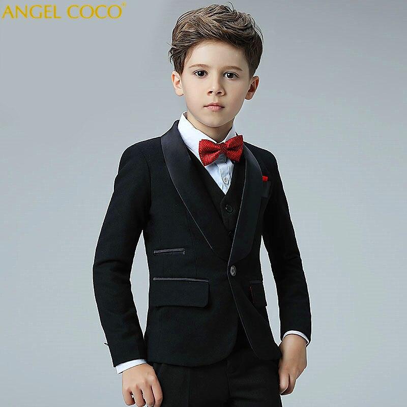 5 Piece 2018 New Boy Flower Girl Wedding Suit Korean Boys Prom Suits British Children Suit