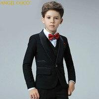 5 Piece 2018 New Boy Flower Girl Wedding Suit Korean Boys Prom Suits British Children Suit Costume Enfant Garcon Mariage Tuxedo