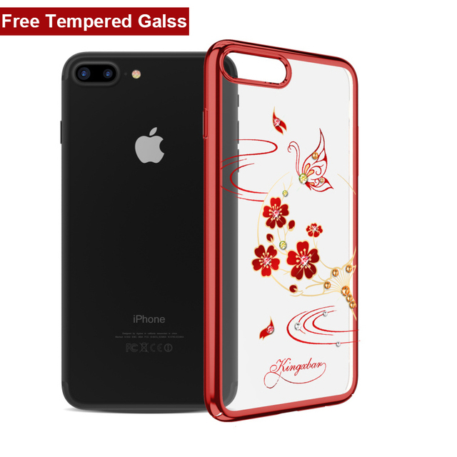 For Apple IPhone 8 7 Plus Case Gold Luxury Bling Plating Clear PC Hard Back