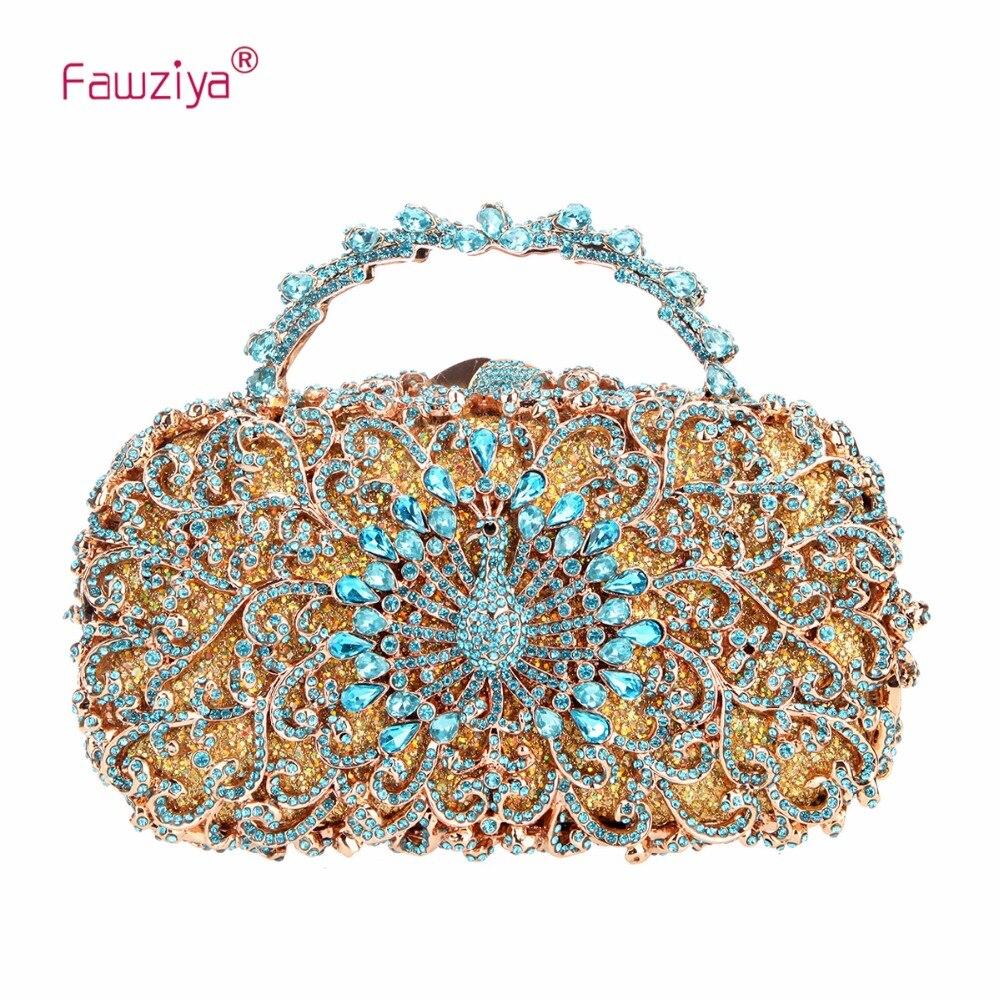 Fawziya Peacock Metal Handle Clutch Purses For Women Evening Bags