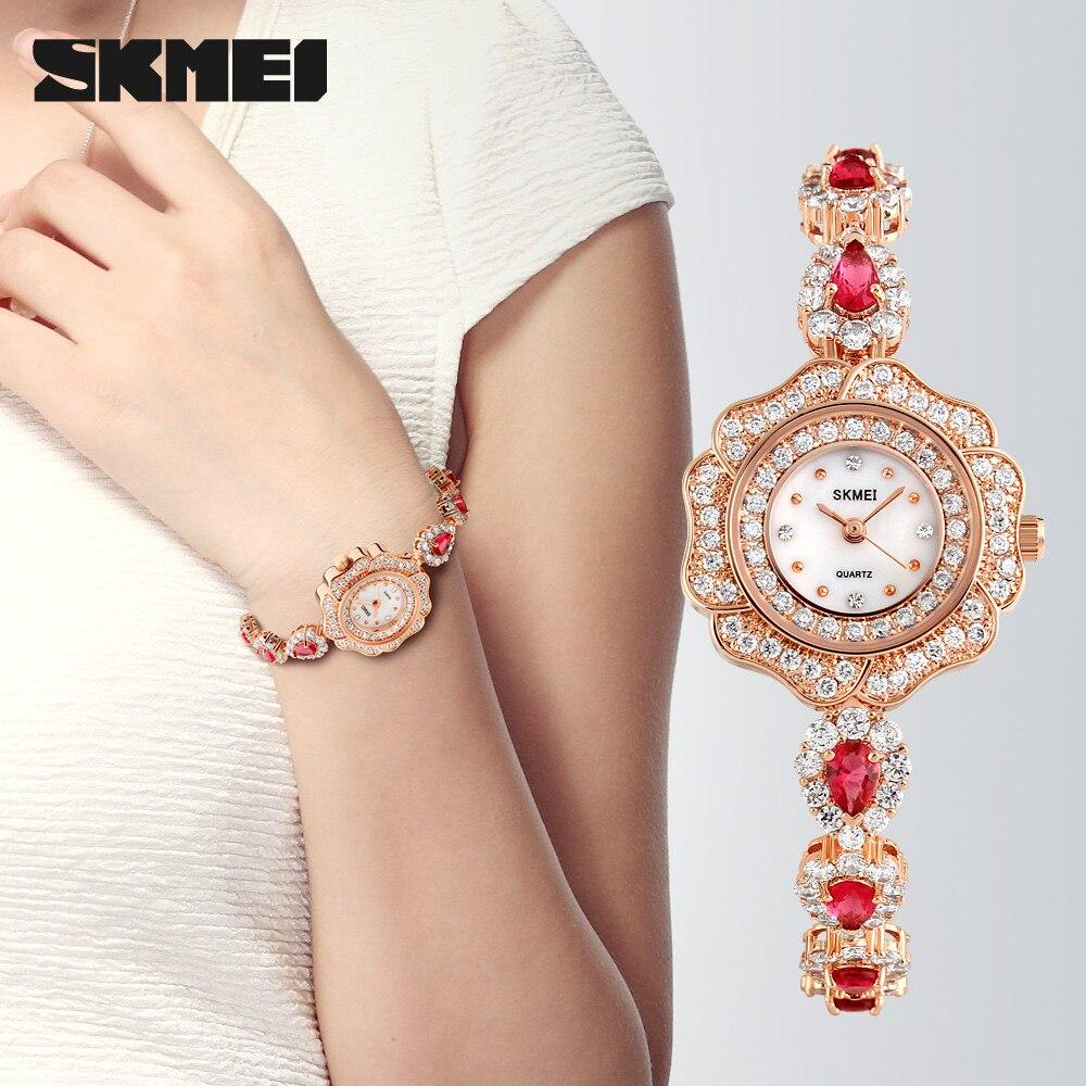 Skmei Quartz movement Women s Fashion 30M Waterproof Copper plating Inlaid rhinestone Glass mirror Time