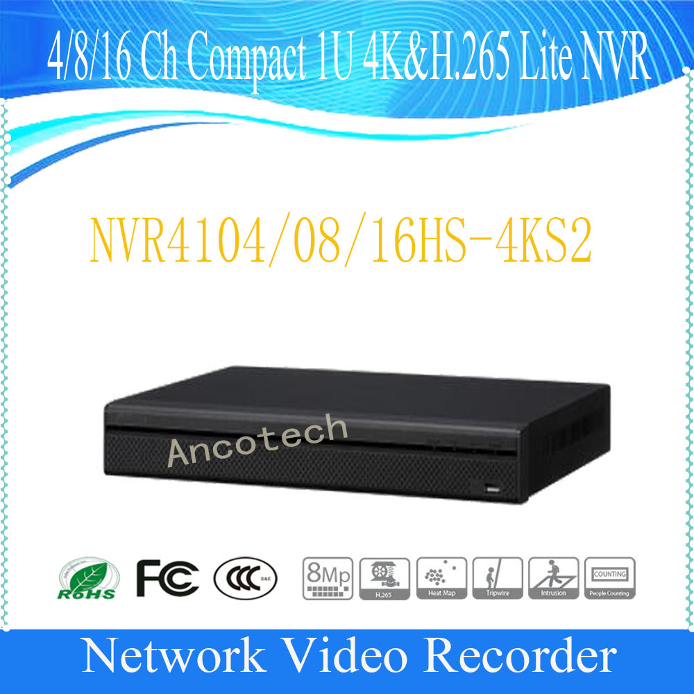 DAHUA NVR 4K & H.265 4/8/16 ChCompact 1U Lite NVR DHI-NVR4104HS-4KS2/DHI-NVR4108HS-4KS2/DHI-NVR4116HS-4KS2