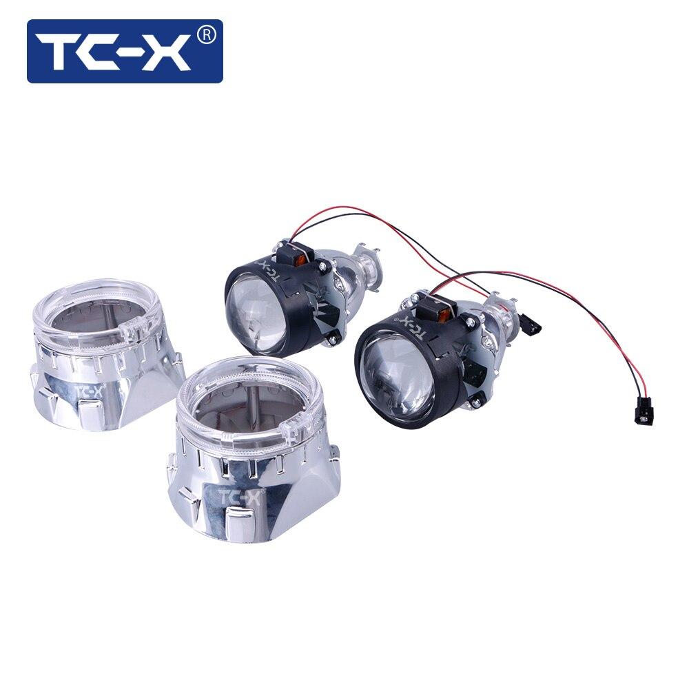 TC-X 2pcs Car Styling 2.5 inches HID Mini Bi xenon Lens LHD Headlight Projector H1 Car light Lenses N/W Shrouds Angle Eyes zt01 2 5 35w 3000lm 4300k hid angle eyes projector lens car xenon light silver pairs