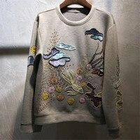Толстовки для Для женщин с длинным рукавом О образным вырезом Мода Высокое качество пуловеры для леди с бисером 2018 Новый Для женщин толстов