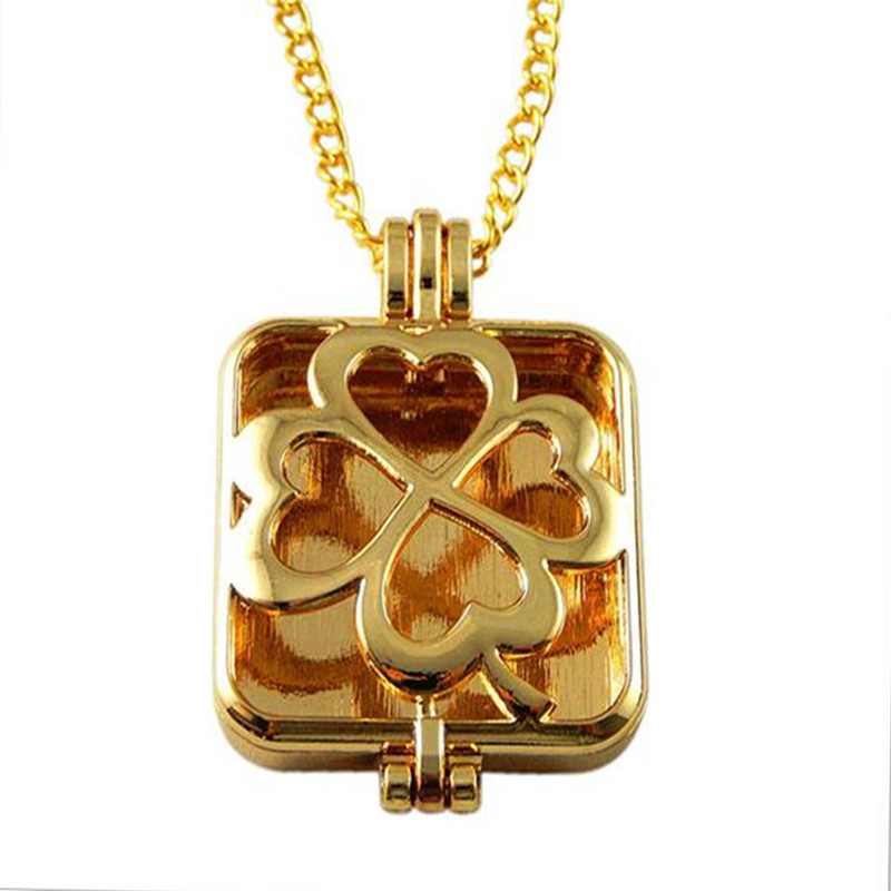 Square Hollow Flower Locket Pad Perfume Essential Oil Aromatherapy Diffuser Gift Beauty Punk Fragrance Charms Pendant Necklace