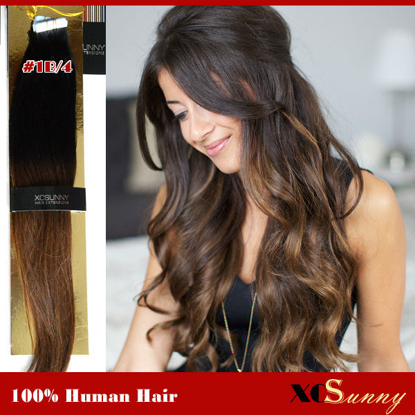 Xcsunny Stock 100 Peruvian Remy Ombre Hair Tape Extensions 40pcs