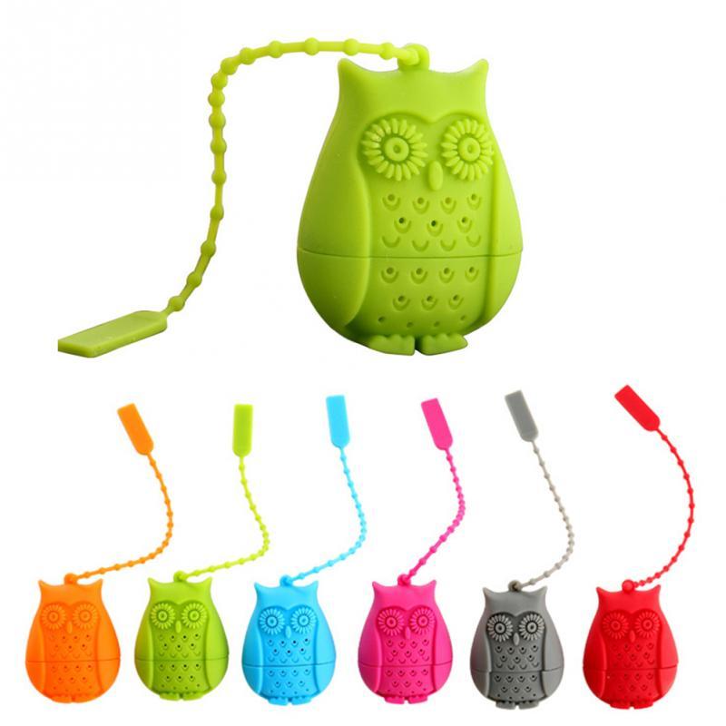 1PC Cute Cartoon Owl shape Tea Infuser Food grade silicone tea infuser cute strainer filter Tea Tools