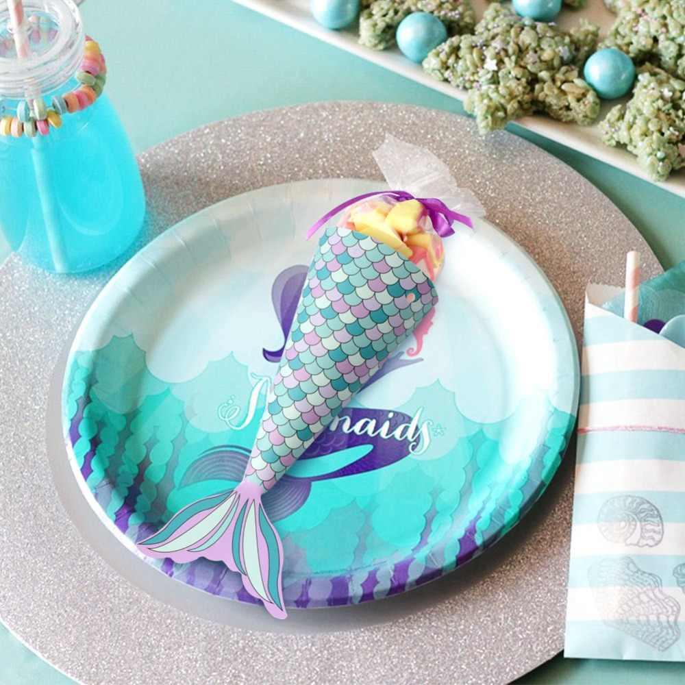OurWarm 12 шт Русалка Бумага конфеты подарочная коробка Висячие десертные сумки подарки девушки свадьба день рождения Русалка украшения для праздника