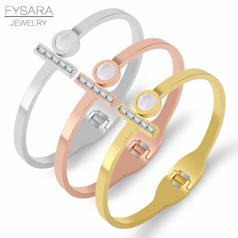 FYSARA Brand Zirconia Crystal Bangle Big Circle Shell Woman Bracelet & Bangle Stainless Steel Spring Open T Pulseiras Jewery