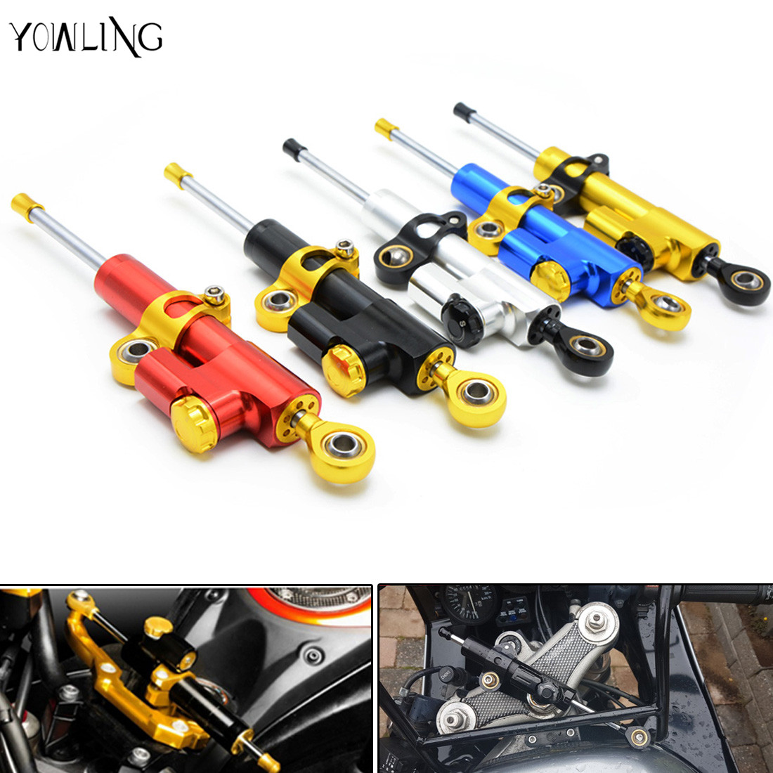 universal motorbcycle steering damper CNC Aluminum steering damper stabilizer linear reversed safety control for yamaha Kawasaki brand new universal motorcycle cnc aluminum steering damper alloy stabilizer linear reversed safety control 5 colors optional