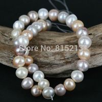 wb 00176 Large Edison Fresh Water Pearl Bead Strand 11 13mm Bead Nucleated