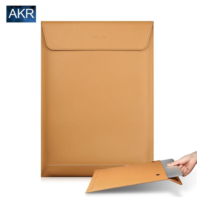 Caixa do portátil para macbook air 13 pro retina 11 12 13 15 2016 Nova Moda de Alta qualidade Dividir Luva de Couro Macio Ultra-fino saco