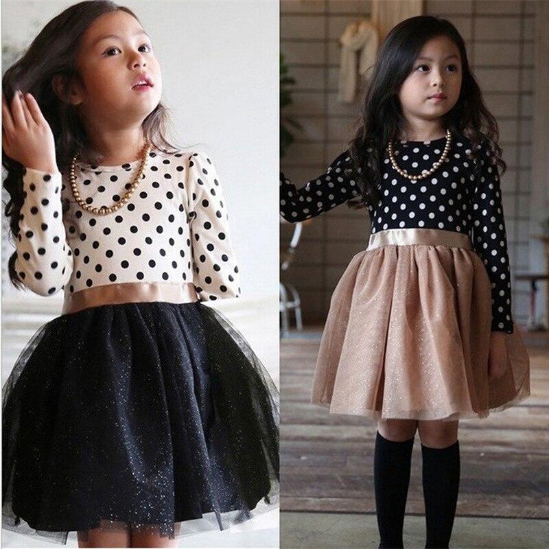 Зимние Детские Платье для девочки; платья принцессы с длинным рукавом для девочек горошек Маленькая детское праздничное платье для дня рождения для малышей Повседневное детская одежда