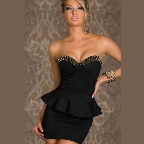 Women Formal Dress Strapless Rivet