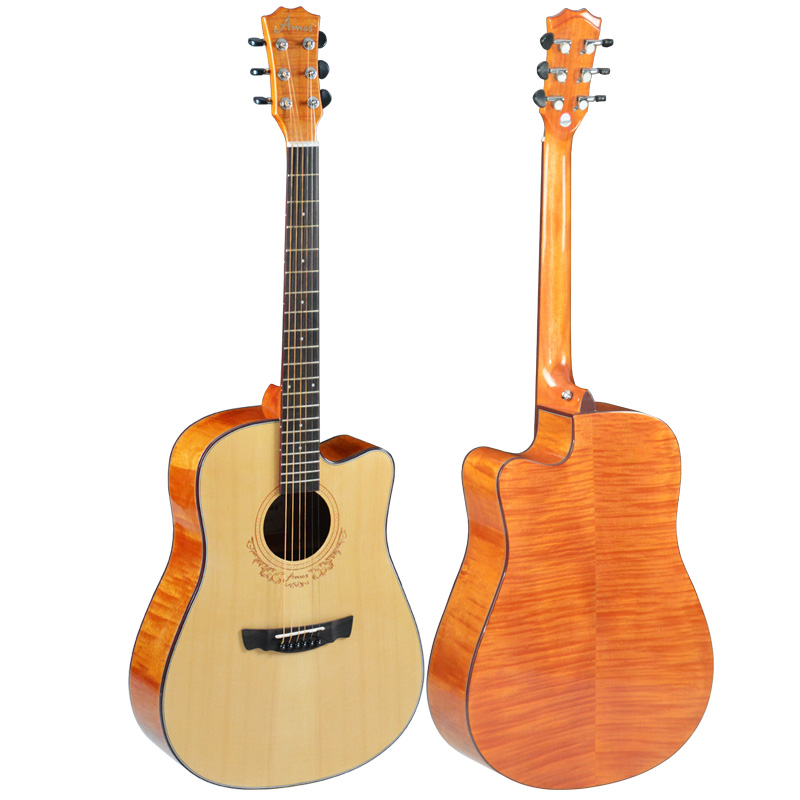 New acoustic guitar 41 inch spruce wood tiger stripes peach core is back spruce wood Rosewood back free shipping high quality solid wood guitar 41 inch spruce wood panel acoustic guitar guitarra free shipping